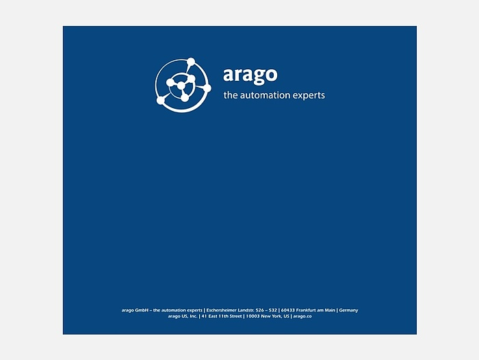 Arago – The Automation Experts. Schlichtes Mousepad, gestaltet von PSM&W.