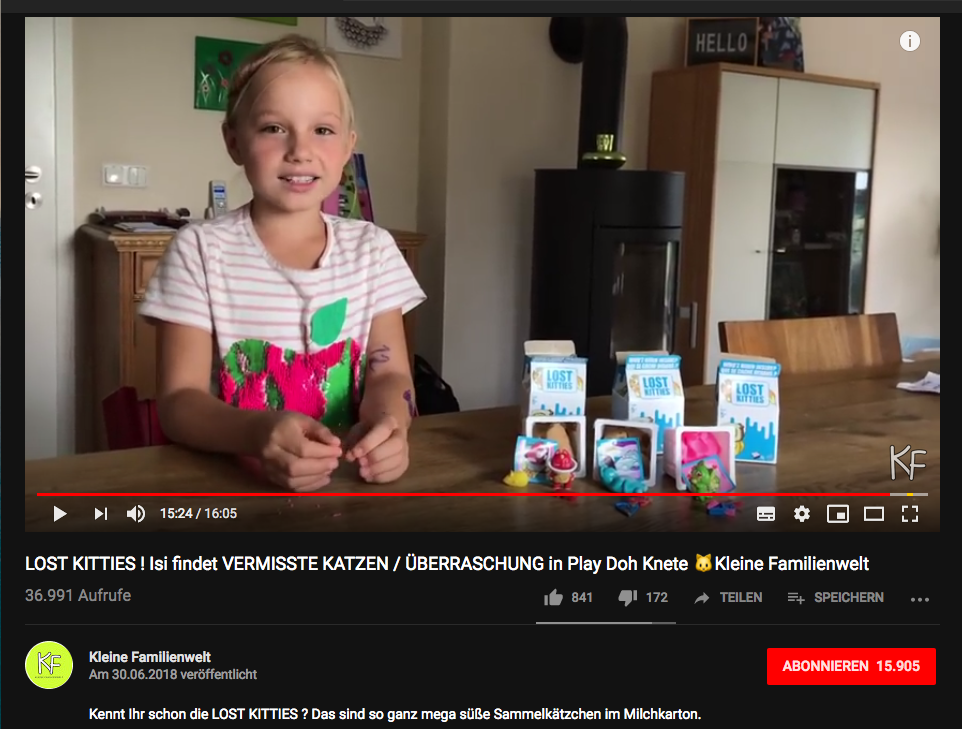 Micro-Influencer-Marketing für Hasbros LOST KITTIES, hier auf dem YouTube-Kanal Kleine Familienwelt // Screenshot YouTube