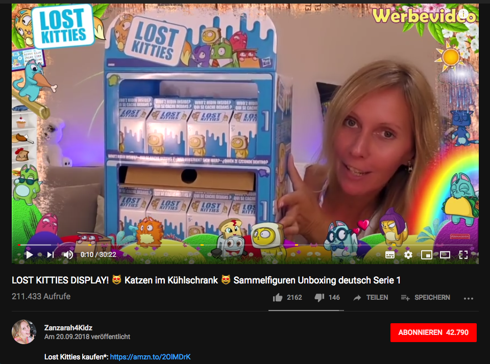 Micro-Influencer-Marketing für Hasbros LOST KITTIES, hier auf dem YouTube-Kanal Zanzarah4Kidz | Screenshot, YouTube